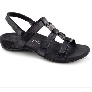 Vionic Amber Comfort Black Leather Sandals size 8